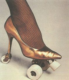 high heel roller skate, this would be a bitch to fall while wearing though ah