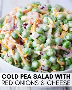 Pasta Salad Recipes 42612 Best Pea salad, everyone LOVES this homemade classic pea salad with red onions, cheddar cheese, such a traditional picnic side dish - Easy pea salad and you could even add a bit of bacon! Picnic Side Dishes, Side Dishes Easy, Side Dish Recipes, Side Dishes For Salmon, Side Dishes With Burgers, Cold Side Dishes, Side Dishes For Chicken, Camping Side Dishes, Veggie Recipes Sides