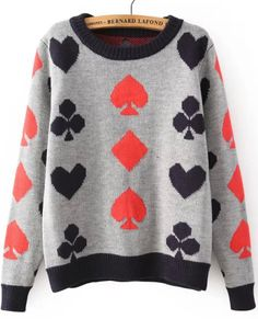 Poker Print Grey Knit Sweater - Am I having problems if I immediately point out which symbols should be red and black according to the quadrants in homestuck? Probably.