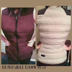Lululemon Down filled vest Reversible for two looks.  Two way zipper to adjust the fit for your activity. Insulate with goose down (800 fill power), primaloft.  One side is Bordeaux Drama and other is beige.  Both sides have pockets. Excellent condition, barely worn. lululemon athletica Jackets & Coats Vests