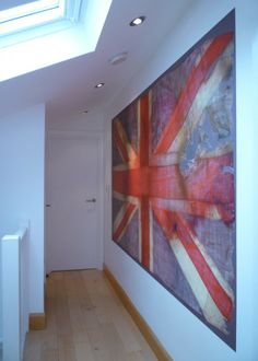 Union Jack Wall Art:  Buy here: http://www.fabricsandpapers.com/item/view/union%20jack%20wallpaper