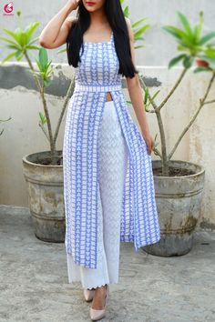 Buy Powder Blue and White Printed Crepe Kurti Online in India Simple Kurta Designs, Silk Kurti Designs, Kurta Designs Women, Kurti Designs Party Wear, Stylish Kurtis Design, Stylish Dress Designs, Designs For Dresses, Stylish Dresses, Indian Fashion Dresses
