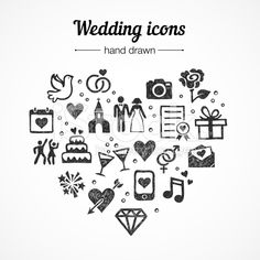Hand drawn vector set wedding icons: marriage, rings, couple, love royalty-free stock vector art