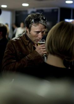 The only time Mads puts away his beer and fags is when the camera is rolling....naughty Mads