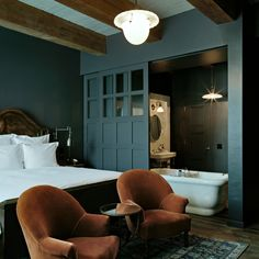 Interior Design Inspiration, Home Decor Inspiration, Home Bedroom, Bedroom Decor, Texas Bedroom, Master Bedroom, Soho House Hotel, Small Grey Bedroom, Guest Bedrooms