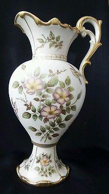 "Antique Tall Austrian Victorian Bohemian Handpainted Pitcher Ewer Vase 33cm 13"""