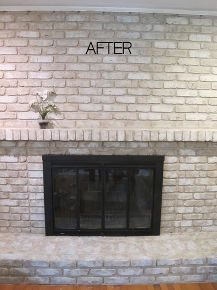 how to paint an old brick fireplace, fireplaces mantels, painting, Using a faux finish it still looks like brick but is fresh light and opens up the family room to let in more light