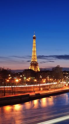 eiffel tower, paris, night, lights, france, bridge, river, hdr