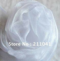 Wholesale Party Organza Fabric white color 48CM Width 50M long wedding accessories $21,56