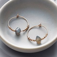 rose gold and labradorite hoops by myhartbeading   notonthehighstreet.com
