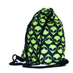 Alien Face Drawstring Bag