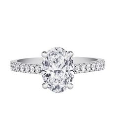 De Beers DB Classic Pave Solitaire Ring   From asscher to round, take a peek at the elegant options for engagement rings.