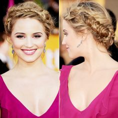 WHY WE LOVE IT: Dianna Agron created a boho updo by pinning a roughed-up fishtail braid along her hairline.