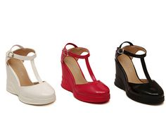 1a039a74f5a29a Aliexpress.com   Buy Size 35 39 Fashion Closed Toe T Strap Shoes for Women  10cm Wedge Sandals Patent Leather Summer Platform Shoes MZ015 from Reliable  shoes ...