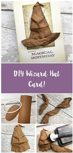 Create your own magical wizard or witch hat better yet make it into a card make!   Click the link to see how to make!  #cardmaking #craft #papercraft #cardideas #birthdaycard #occasioncard #wizard #witch #handmade #magical #popculture 3d Cards, Pop Up Cards, Cool Cards, Harry Potter Dolls, Harry Potter Decor, Homemade Gifts, Homemade Cards, Steampunk Cards, Harry Potter Birthday Cake