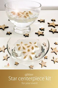 Gold glittered star floating candles with lightly glittered wood stars make this centerpiece shine. Goblet bowl is x and candles burn 4 hours.