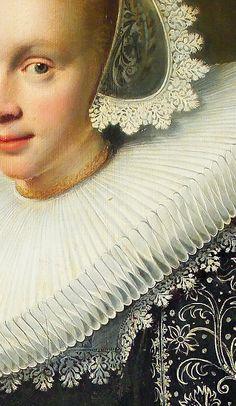 Jan Daemen Cool (1589-1660), Portrait of a young woman with a fan, 1636, detail