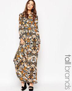 86b5217962 Glamorous Tall Scarf Neck Paisley Print Maxi Dress at asos.com