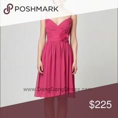 Monique Luillier Cocktail or Bridesmaids Dress This is a brand new, gorgeous, knee-length, chiffon A-line bridesmaid dress with a v-neckline, spaghetti straps, and a delicate floral detail at the hip.  This dress is a beautiful, rich shade of raspberry. Can be worn in a wedding party, as a wedding guest, to a garden party, or whatever occasion comes up! Make me an offer! I'm open to negotiating  Monique Lhuillier Dresses