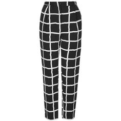 Women's Topshop Windowpane Peg Trousers (€21) ❤ liked on Polyvore featuring pants, bottoms, trousers, jeans, pantalones, pleated pants, patterned trousers, print pants, peg pants and topshop trousers