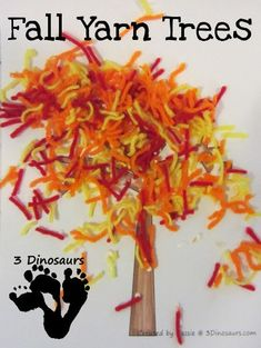 Literature Connection: Red Leaf Yellow Leaf ~ Fall Yarn Tree One of our favorite parts of fall is the color the leaves on the trees. We did this fun Yarn Tree to show the fall colors on the trees. This is a fun easy to do craft for fall.
