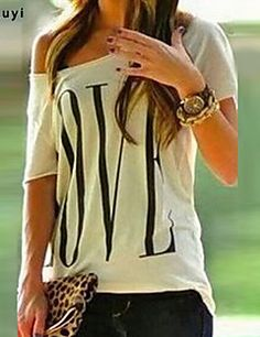 Women's Casual/Print Micro-elastic Short Sleeve Regular T-shirt (Cotton)