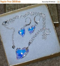 """ON SALE NOW 925 Sterling Silver """"Devoted To You"""" Swarovski Crystal Heart  Pendant and Earrings"""