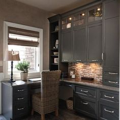 Space saving ideas and furniture placement for small home office design. Love the color of cabinets. I want to go bold either a strong grey or a bold blue for cabinetry and desk. Corner Office, Office Nook, Home Office Space, Small Office, Corner Desk, Desk Space, Kitchen Office, Office Spaces, Office Shelf