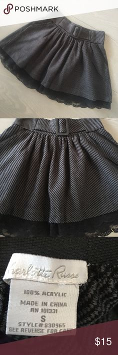charcoal black mini skirt w lace Excellent condition. Size S. There are no signs of wear. Gorgeous skirt with lace detail. Tags only: Bebe, express, guess, Marciano Skirts Mini