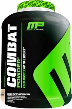 Muscle Pharm Combat - Sustained release whey protein for breakfast, snacks, meal replacements, before bed.