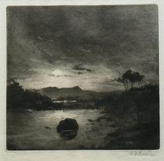Landscape aquatint 1920/30 unknown signature