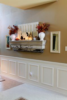 Fake mantel for homes without a fireplace. Fun fall decorations!