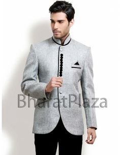 Light brown well dressed #jute suit with bandhgala collar-ST482 ...