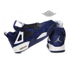 online retailer f1324 579a9 Air Jordan 4 Retro Anti-Fourrure Chaussures Jordan Pour Femme Deep  Bleu Blanc - €242.96   Chaussures Nike Air Max Pas Cher Solde   Nike Free  Run   Nike Air ...