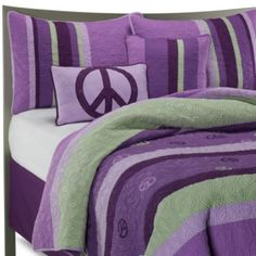 Peace Quilt Set, 100% Cotton - BedBathandBeyond.com LIKE THE PEACE SIGNS AND MOST OF THE COLORS BUT NOT THE STRIPES ALL TOGETHER
