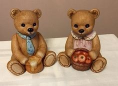 HOMCO- Home Interiors Pair of Bears series 1405 - Retired pair. 1988. Vintage by Cachebuster on Etsy