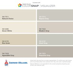 Love these classic Sherwin-Williams neutrals for new homes! Natural Choice (SW 7011), Dover White (SW 6385), Rice Grain (SW 6155), Agreeable Gray (SW 7029), Repose Gray (SW 7015), Modern Gray (SW 7632), Aloof Gray (SW 6197), Requisite Gray (SW 7023).