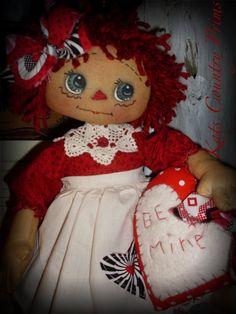 PAPER PATTERN Be Mine Annie Primitive Raggedy Ann doll. $6.50, via Etsy.