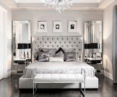 Luxurious master bedroom in steel grey