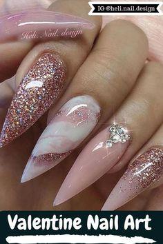 12 Summer Valentine Nail Art for 2019 - Acrylic Nail Designs, Nail Art Designs, Acrylic Nails, American Nails, Bridal Nail Art, Valentine Nail Art, Ballerina Nails, Luxury Nails, Halloween Nail Art
