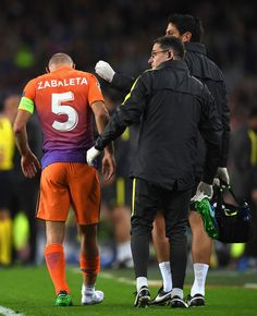 Pablo Zabaleta of Manchester City looks dejected after picking up an injury during the UEFA Champions League group C match between FC Barcelona and Manchester City FC at Camp Nou on October 19, 2016 in Barcelona, Catalonia.