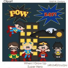 DIGITAL SCRAPBOOKING CLIPART  When I Grow Up Super by BoxerScraps, $1.75