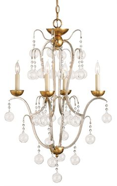 """Allusion, 9027 Currey. This standout piece uses blown glass """"bubbles? to create an unusual effect. Suspended on crystal chains, the glass balls add a touch of whimsy to a traditional chandelier. The four light framework of wrought iron is finished with a combination of Silver Leaf and Gold Leaf. 32""""H, 20.5"""" W.  Great for kitchen nook"""