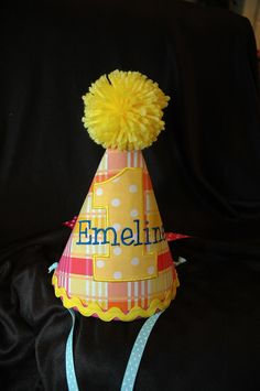 Birthday Party Hat- First Birthday Party Hat Sweet Summer Sunshine -  Can be plain or embroidered with a name.  Your Choice- Same Price