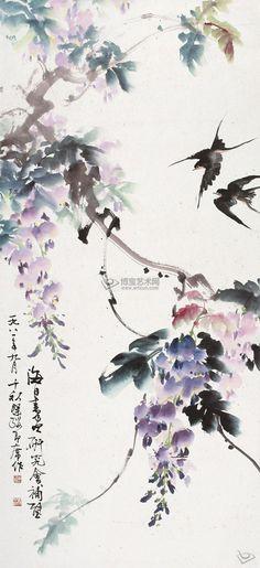 紫藤双燕 立轴 设色纸本_大书画_周千秋_