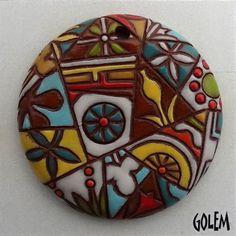 Barcelona mosaic large round pendant