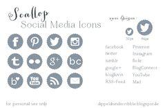 free social media icons - scallop  #freebie #icons #socialmedia