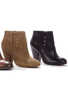 Versatile bootie with a stacked heel, rounded toe, subtle stud detailing and an easy side zipper.