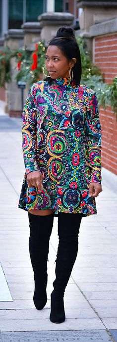 Colorful Dress, OTK Boots, Swing Dress, Fall Outfit Idea, Dress, Vintage Print