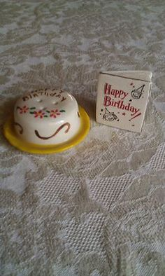 Vtg Arcadia Mini Decorated Birthday Cake Flashy Card s P Shakers   eBay